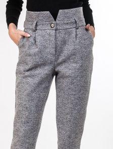 Высокие теплые брюки с карманами в сером цвете
