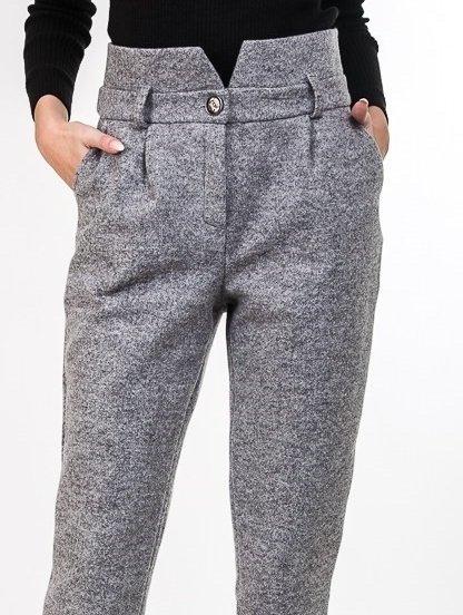 Высокие теплые брюки с карманами в сером цвете, фото 1