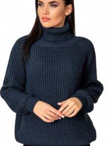 Теплый вязаный свитер синего цвета универсального размера