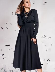 Красивое темное платье с завышеной талией