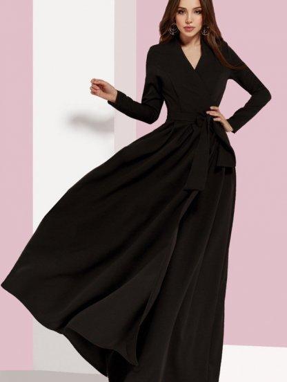 Вечернее черное платье с длинным рукавом, фото 1
