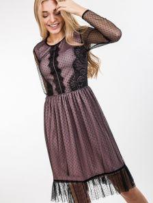 Платье в пастельных тонах из сетки на подкладе