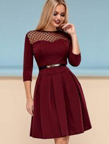Платье с юбкой полу-солнце цвета марсала