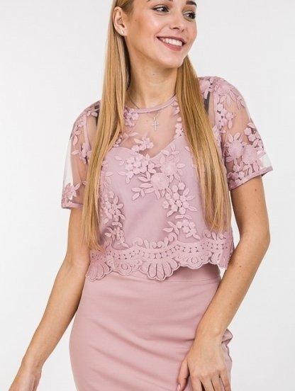 Нарядный комплект юбка-карандаш и кружевной топ на короткий рукав, фото 1
