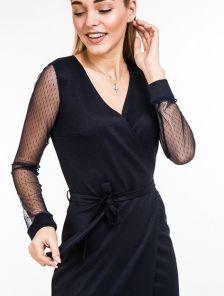 Классическое миди платье с прозрачным рукавом