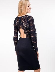 Элегантное платье-футляр с кружевом и открытой спинкой в