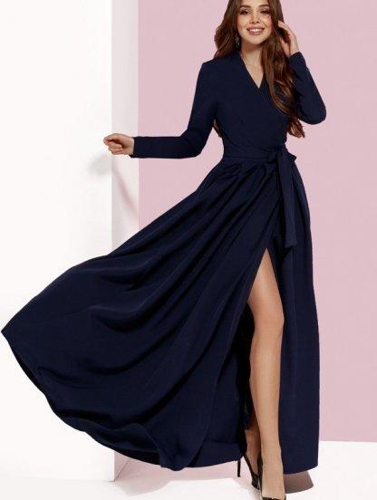 Вечернее платье на запах с длинными рукавами, фото 1