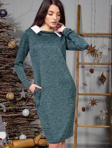 Оригинальное платье с воротником и удобными карманами в зеленом цвете