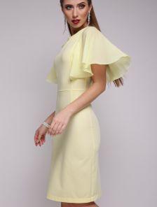 Платье карандаш с полу-прозрачным шифоновым рукавом длины-миди