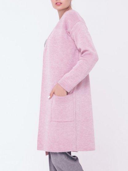Теплый розовый кардиган с карманами на работу и в офис, фото 1