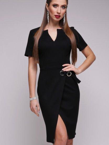 Черное модное платье с имитацией запаха и коротким рукавом, фото 1