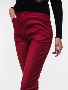 Бордовые брюки с эко-замши на широкой резинке с карманами