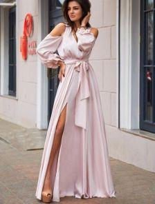 Розовое вечернее длинное платье с вырезами