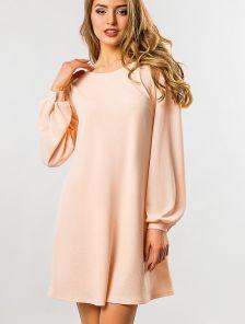 Расклешенное свободное платье с длинным рукавом