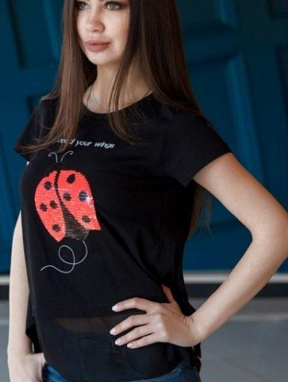 Черная футболка с декорированым пайетками рисунком и шифоновой подкладкой, фото 1