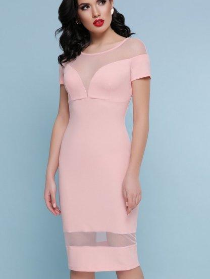 Розовое короткое платье футляр на короткий рукав со вставками из сетки, фото 1