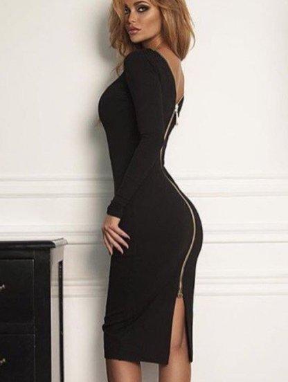 Черное облегающее платье с молнией, фото 1