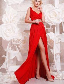 Вечернее нарядное красное платье в пол