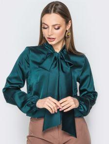 Шелковая блуза изумрудного цвета