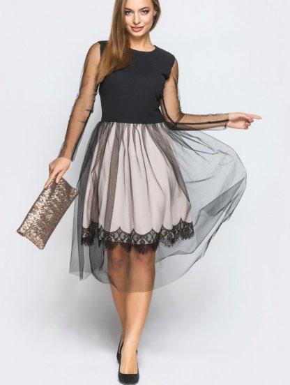 Нарядное платье по колено с черной сеткой, фото 1