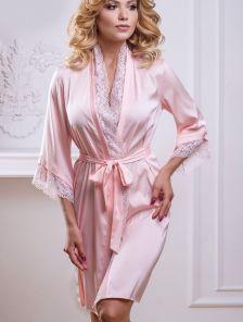 Розовый домашний халатик с кружевом на запах с шелка Армани