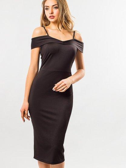 Базовое облегающее платье с открытыми плечами, фото 1