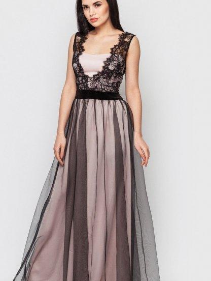 Вечернее длинное нарядное платье с фатиновой юбкой и кружевным топом, фото 1