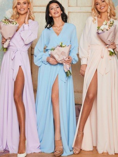 Вечернее шифоновое персиковое платье с запахом в пол, фото 1