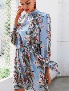 Шифоновый сарафан с открытой спиной на длинный рукав в цветочный принт