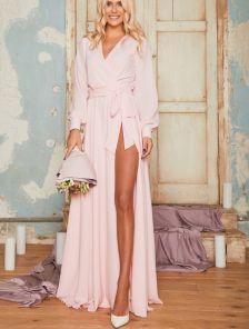 Вечернее длинное шифоновое платье с запахом