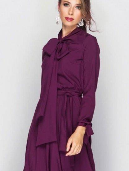 Бордовое длинное платье с бантом, фото 1