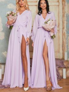 Вечернее шифоновое сиреневое платье с запахом в пол
