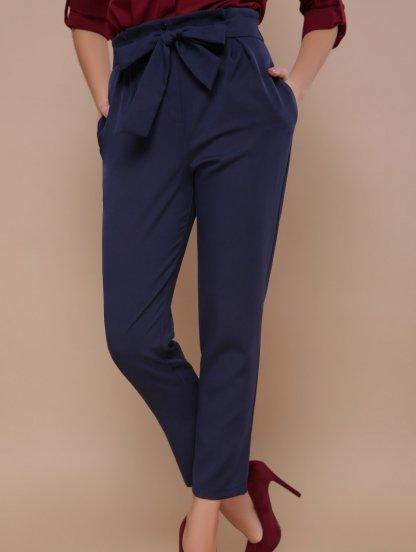 Темно-синие брюки с завышенной талией под пояс и карманами, фото 1
