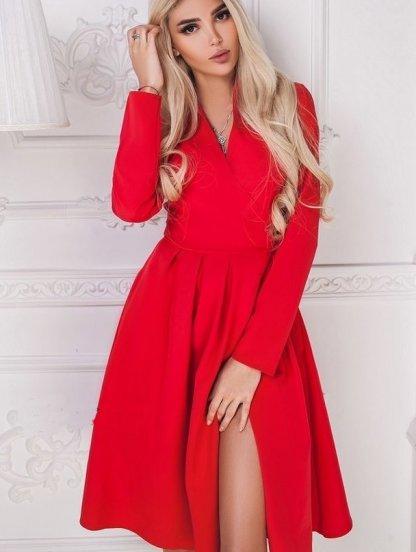 Короткое нарядное красное платье с запахом, фото 1