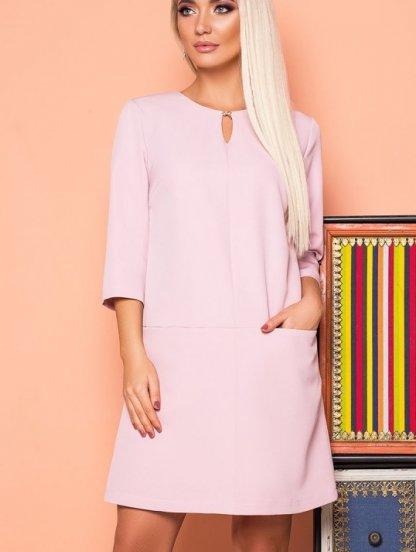 Короткое светлое расклешенное свободное платье с карманами, фото 1