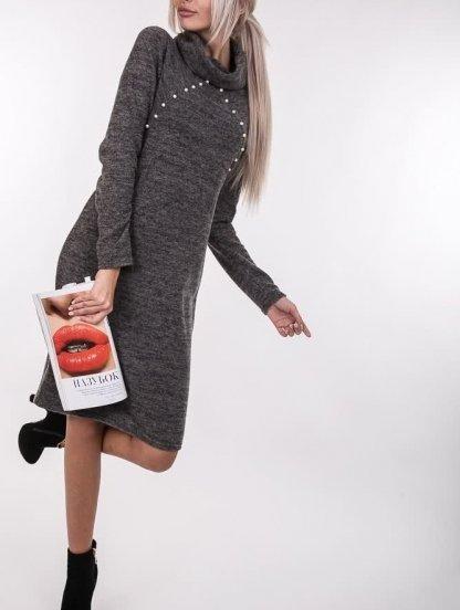 Трикотажное теплое платье с большим воротником, фото 1