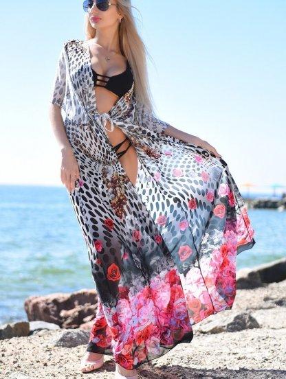 Длинная пляжная туника из шифона с цветами, фото 1