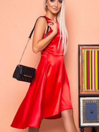 Короткое красное атласное платье без рукавов с расклешенной юбкой, фото 1