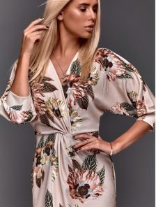 Бежевое нарядное люрексовое платье миди с цветами