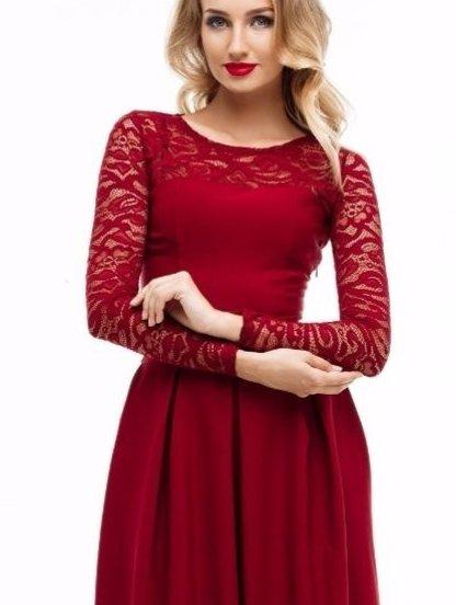 Вечернее длинное платье c кружевом и кружевным рукавом, фото 1
