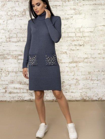 Теплое вязаное спортивное платье с карманами, фото 1