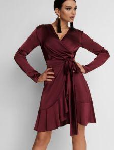 Бордовое платье на запах с воланом на юбке с нежного шелка Армани