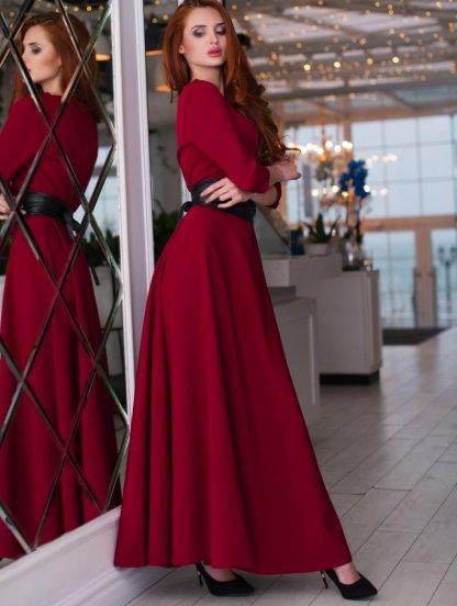 Вечернее бордовое платье на длинный рукав, фото 1