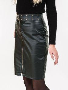 Темно-зеленая юбка с молнией впереди и декорированым поясом