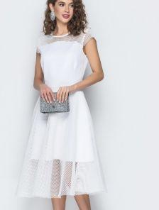 Белое платье с юбкой солнце-клеш длины-миди и коротким рукавчиком