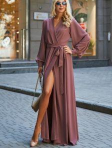 Вечернее лиловое платье с запахом на длинный рукав