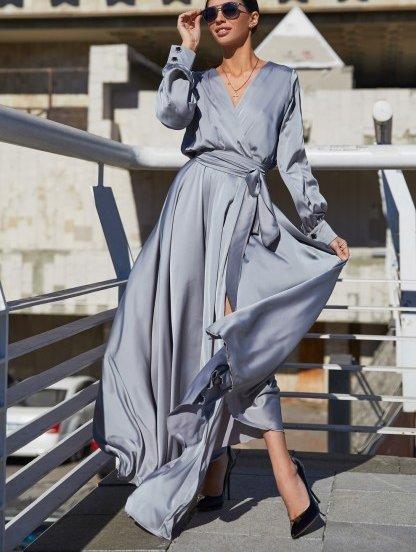 Вечернее серебристое платье, фото 1