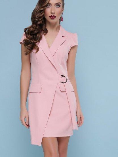 Светлое короткое платье с коротким рукавом и с накладными карманами, фото 1
