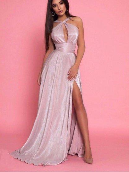 Вечернее блестящее серебристое платье с разрезом, фото 1