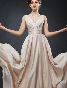 Пудровое вечернее платье в пол на шнуровкен с карманами